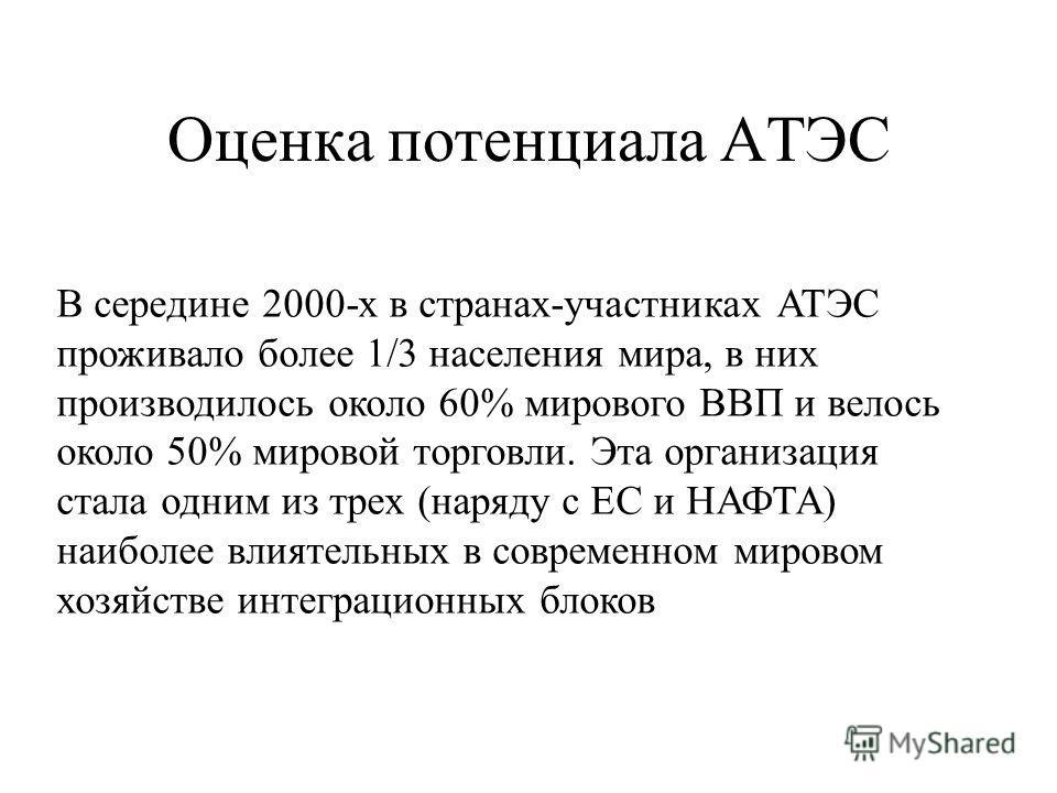 Оценка потенциала АТЭС В середине 2000-х в странах-участниках АТЭС проживало более 1/3 населения мира, в них производилось около 60% мирового ВВП и велось около 50% мировой торговли. Эта организация стала одним из трех (наряду с ЕС и НАФТА) наиболее
