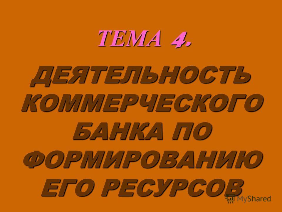 ТЕМА 4. ДЕЯТЕЛЬНОСТЬ КОММЕРЧЕСКОГО БАНКА ПО ФОРМИРОВАНИЮ ЕГО РЕСУРСОВ