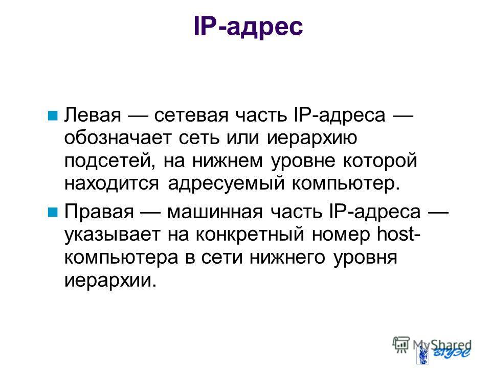 Левая сетевая часть IP-адреса обозначает сеть или иерархию подсетей, на нижнем уровне которой находится адресуемый компьютер. Правая машинная часть IP-адреса указывает на конкретный номер host- компьютера в сети нижнего уровня иерархии. IP-адрес