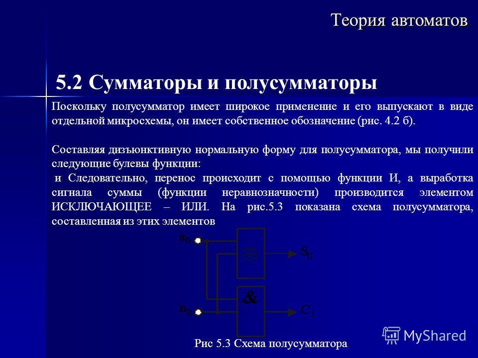 Теория автоматов 5.2 Сумматоры и полусумматоры Поскольку полусумматор имеет широкое применение и его выпускают в виде отдельной микросхемы, он имеет собственное обозначение (рис. 4.2 б). Составляя дизъюнктивную нормальную форму для полусумматора, мы