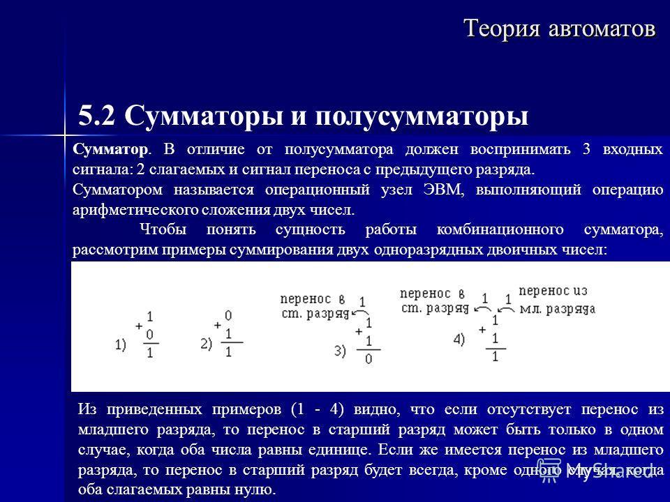 Теория автоматов 5.2 Сумматоры и полусумматоры Сумматор. В отличие от полусумматора должен воспринимать 3 входных сигнала: 2 слагаемых и сигнал переноса с предыдущего разряда. Сумматором называется операционный узел ЭВМ, выполняющий операцию арифмети