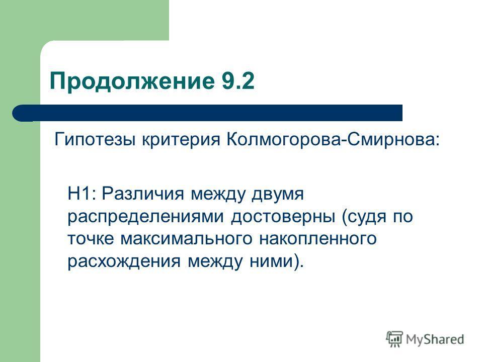 Продолжение 9.2 Гипотезы критерия Колмогорова-Смирнова: Н1: Различия между двумя распределениями достоверны (судя по точке максимального накопленного расхождения между ними).