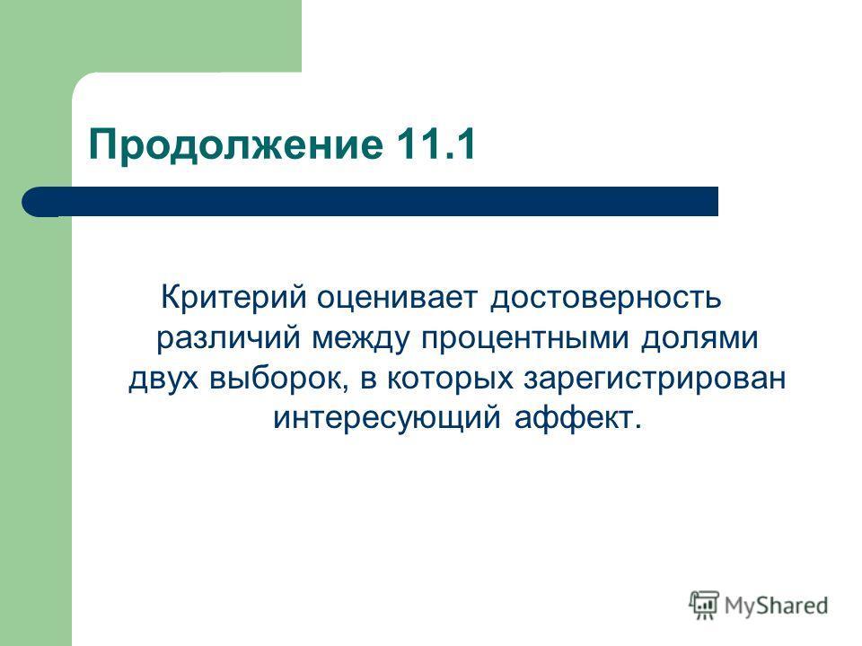 Продолжение 11.1 Критерий оценивает достоверность различий между процентными долями двух выборок, в которых зарегистрирован интересующий аффект.