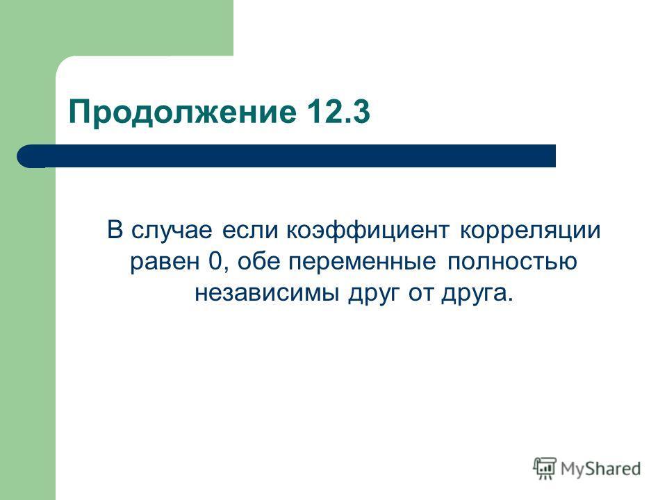 Продолжение 12.3 В случае если коэффициент корреляции равен 0, обе переменные полностью независимы друг от друга.