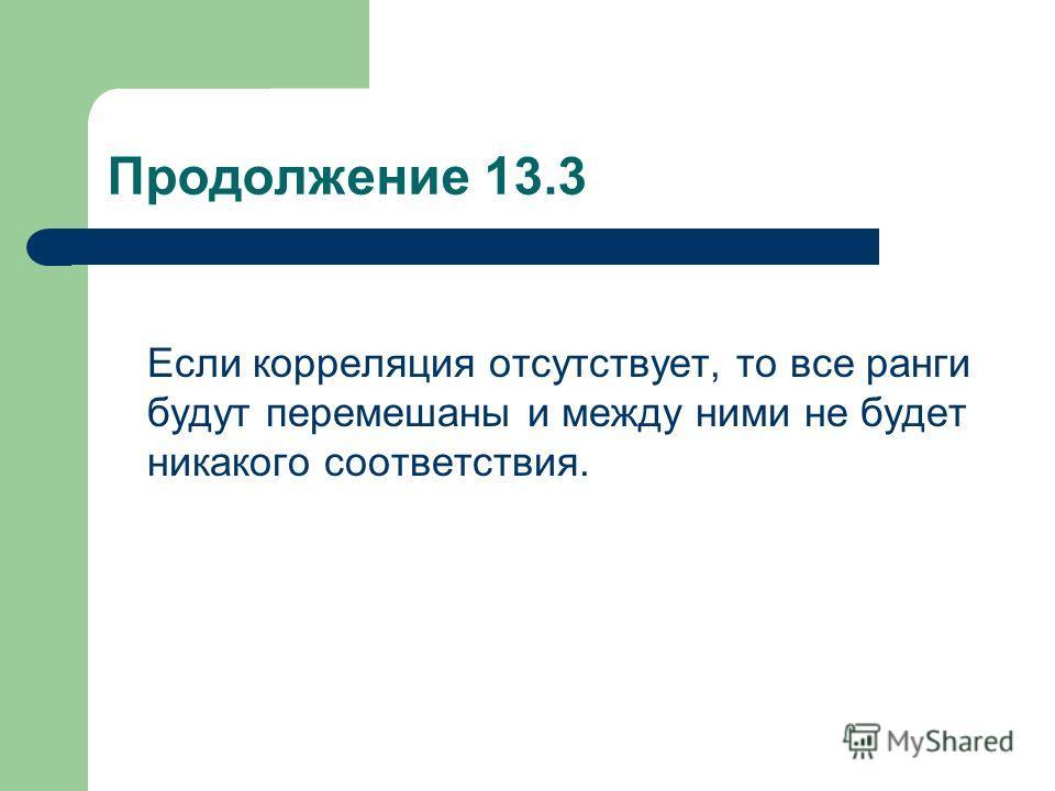 Продолжение 13.3 Если корреляция отсутствует, то все ранги будут перемешаны и между ними не будет никакого соответствия.