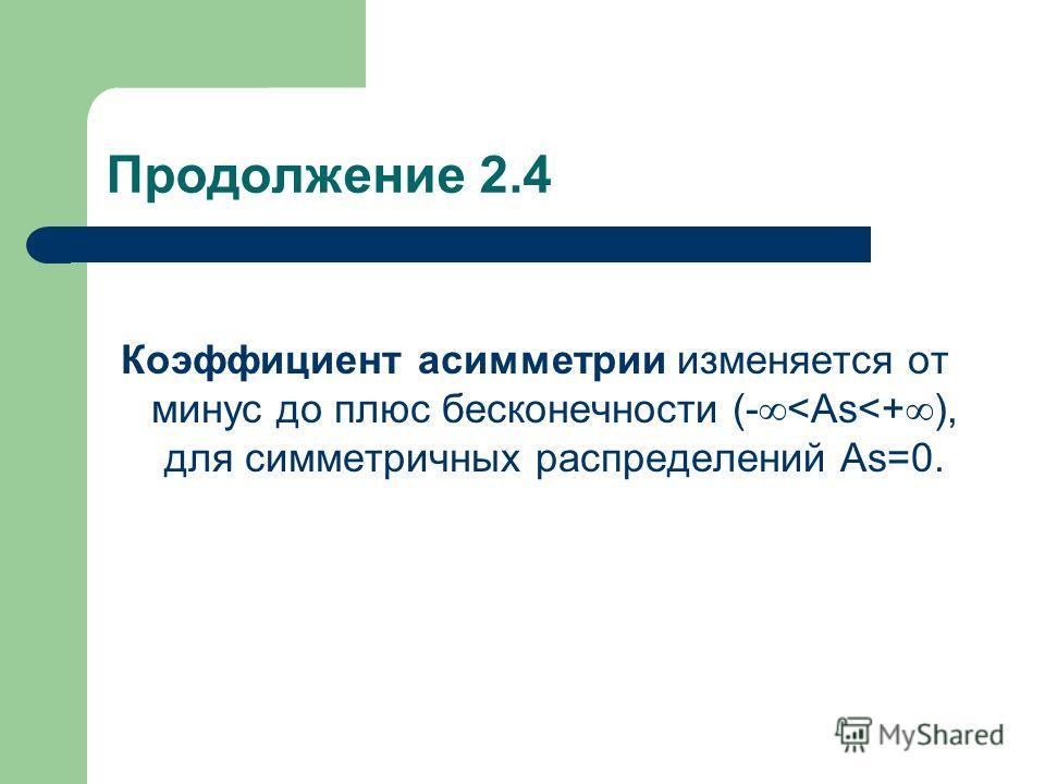 Продолжение 2.4 Коэффициент асимметрии изменяется от минус до плюс бесконечности (-