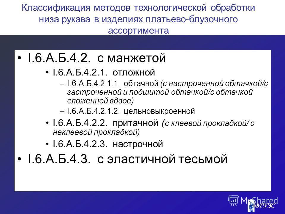 Классификация методов технологической обработки низа рукава в изделиях платьево-блузочного ассортимента I.6.A.Б.4.2. с манжетой I.6.A.Б.4.2.1. отложной –I.6.A.Б.4.2.1.1. обтачной (с настроченной обтачкой/с застроченной и подшитой обтачкой/с обтачкой