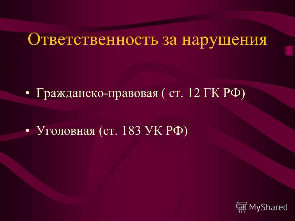 Ответственность за нарушения Гражданско-правовая ( ст. 12 ГК РФ) Уголовная (ст. 183 УК РФ)