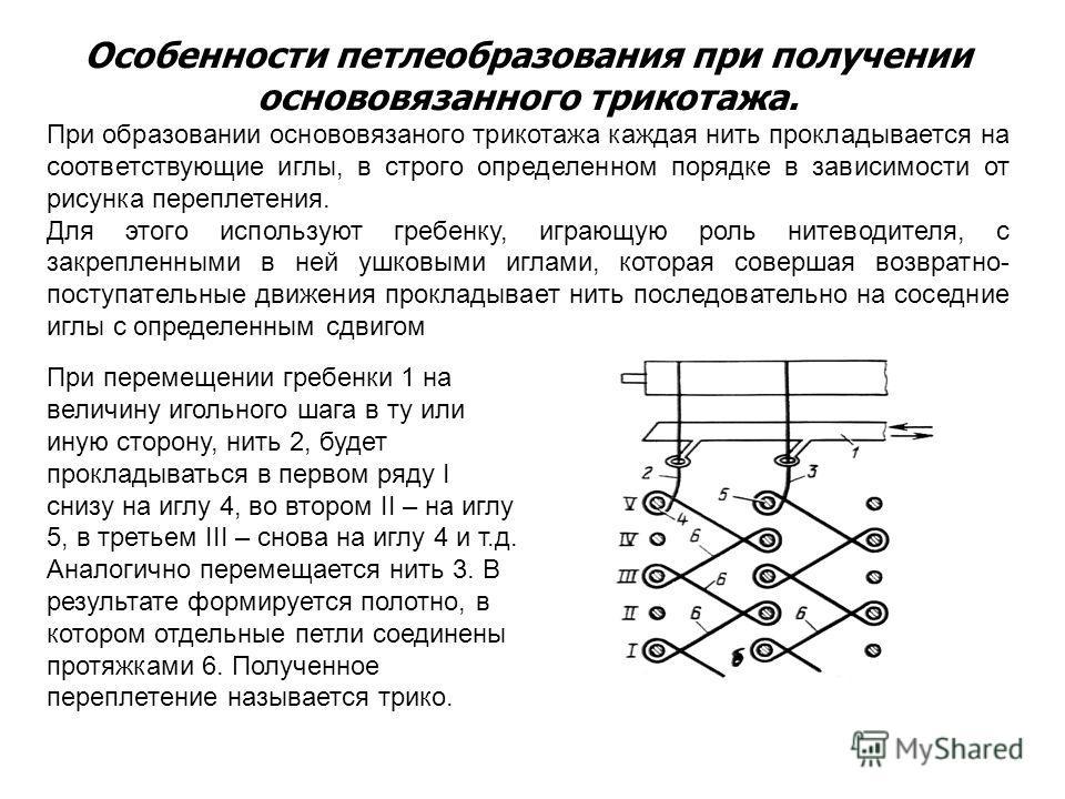 Особенности петлеобразования при получении основовязанного трикотажа. При образовании основовязаного трикотажа каждая нить прокладывается на соответствующие иглы, в строго определенном порядке в зависимости от рисунка переплетения. Для этого использу