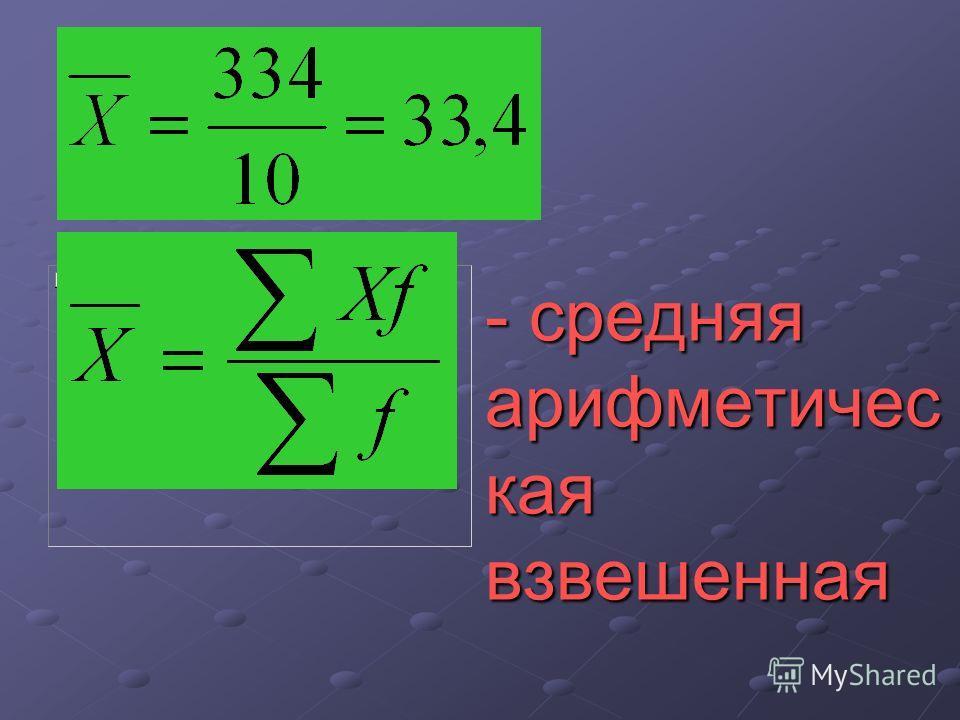- средняя арифметичес кая взвешенная
