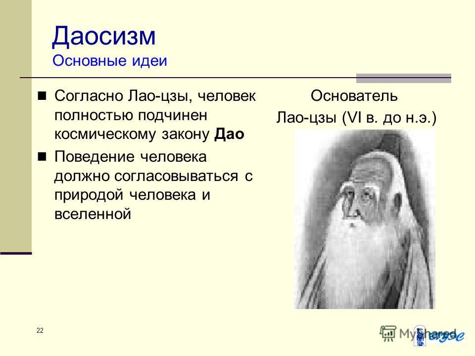 22 Даосизм Основные идеи Согласно Лао-цзы, человек полностью подчинен космическому закону Дао Поведение человека должно согласовываться с природой человека и вселенной Основатель Лао-цзы (VI в. до н.э.)