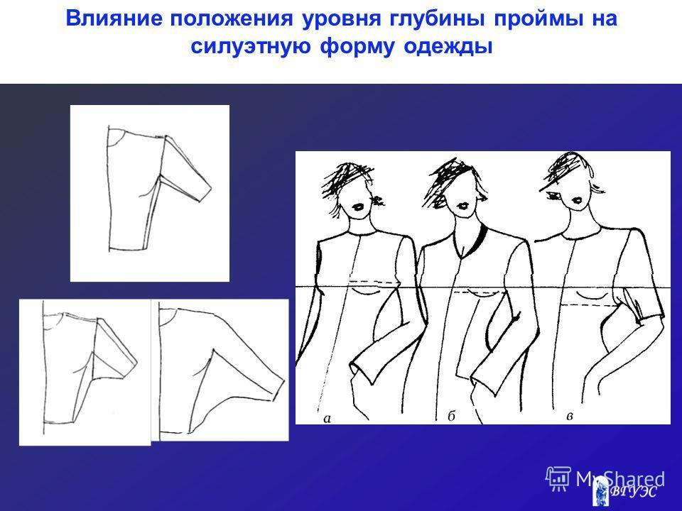 Влияние положения уровня глубины проймы на силуэтную форму одежды