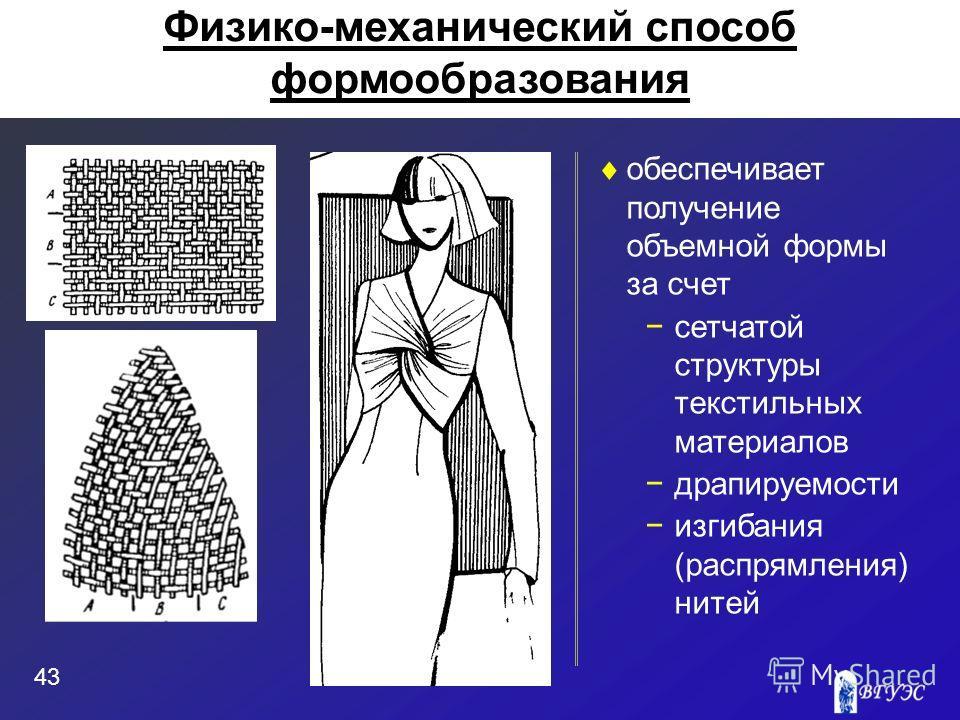 обеспечивает получение объемной формы за счет сетчатой структуры текстильных материалов драпируемости изгибания (распрямления) нитей 43 Физико-механический способ формообразования