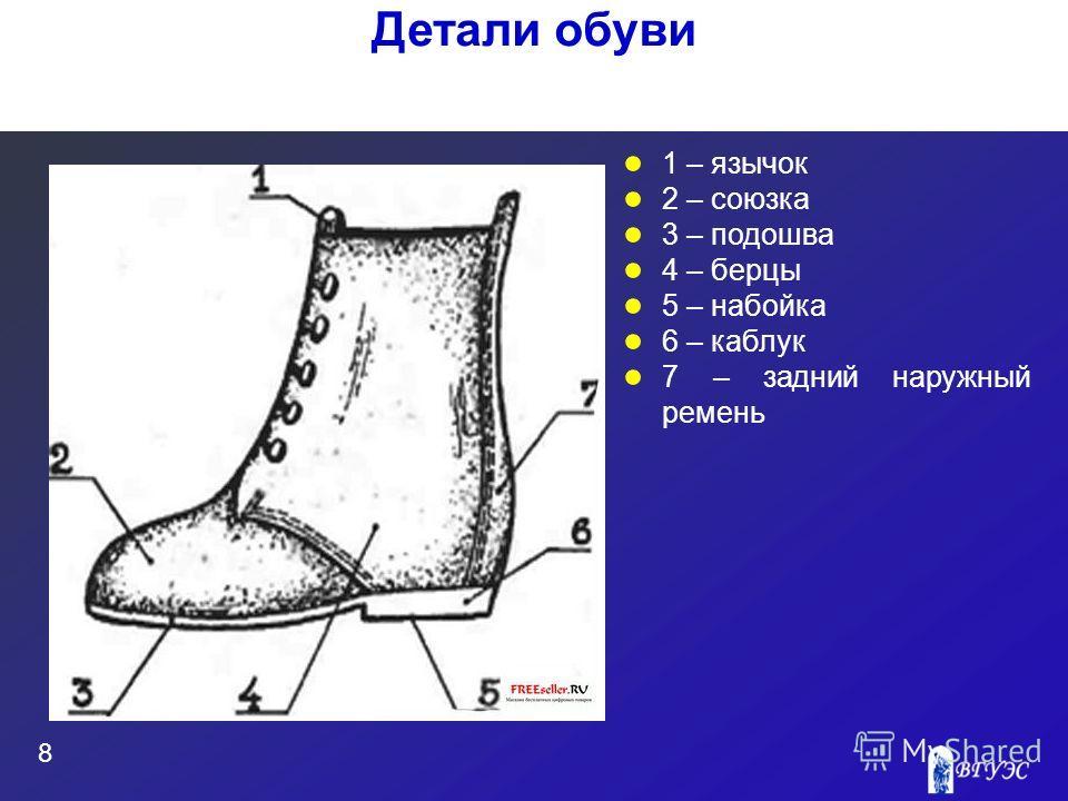 1 – язычок 2 – союзка 3 – подошва 4 – берцы 5 – набойка 6 – каблук 7 – задний наружный ремень 8 Детали обуви