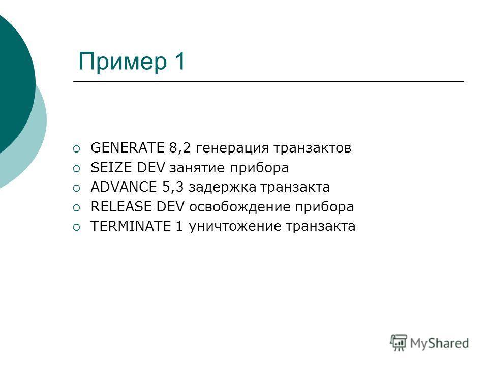 Пример 1 GENERATE 8,2 генерация транзактов SEIZE DEV занятие прибора ADVANCE 5,3 задержка транзакта RELEASE DEV освобождение прибора TERMINATE 1 уничтожение транзакта