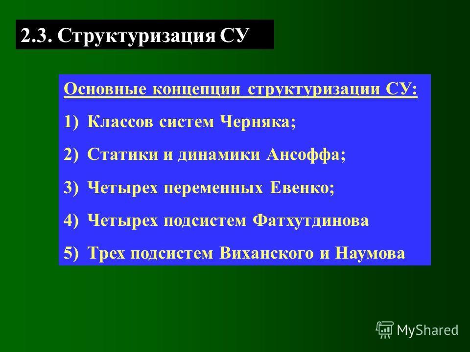 Основные концепции структуризации СУ: 1)Классов систем Черняка; 2)Статики и динамики Ансоффа; 3)Четырех переменных Евенко; 4)Четырех подсистем Фатхутдинова 5)Трех подсистем Виханского и Наумова 2.3. Структуризация СУ