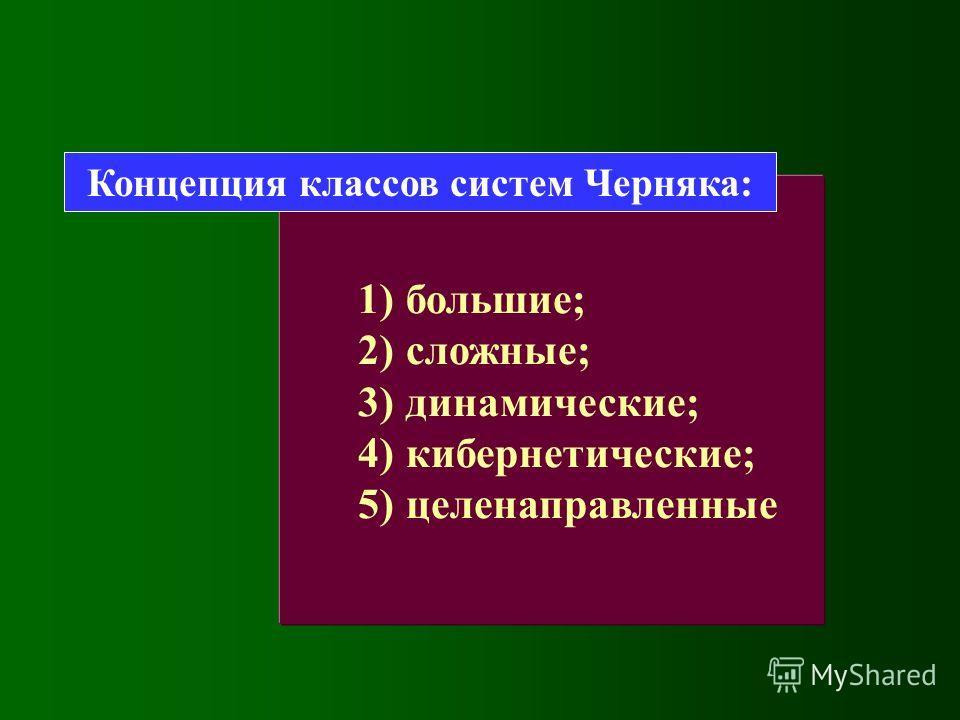1)большие; 2)сложные; 3)динамические; 4)кибернетические; 5)целенаправленные Концепция классов систем Черняка: