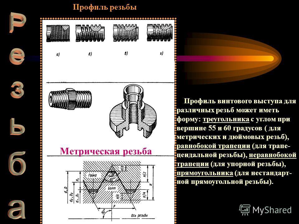 Профиль резьбы Профиль винтового выступа для различных резьб может иметь форму: треугольника с углом при вершине 55 и 60 градусов ( для метрических и дюймовых резьб), равнобокой трапеции (для трапе- цеидальной резьбы), неравнобокой трапеции (для упор