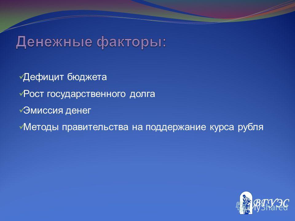 Дефицит бюджета Рост государственного долга Эмиссия денег Методы правительства на поддержание курса рубля