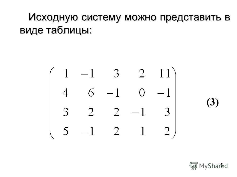 15 Исходную систему можно представить в виде таблицы: (3)