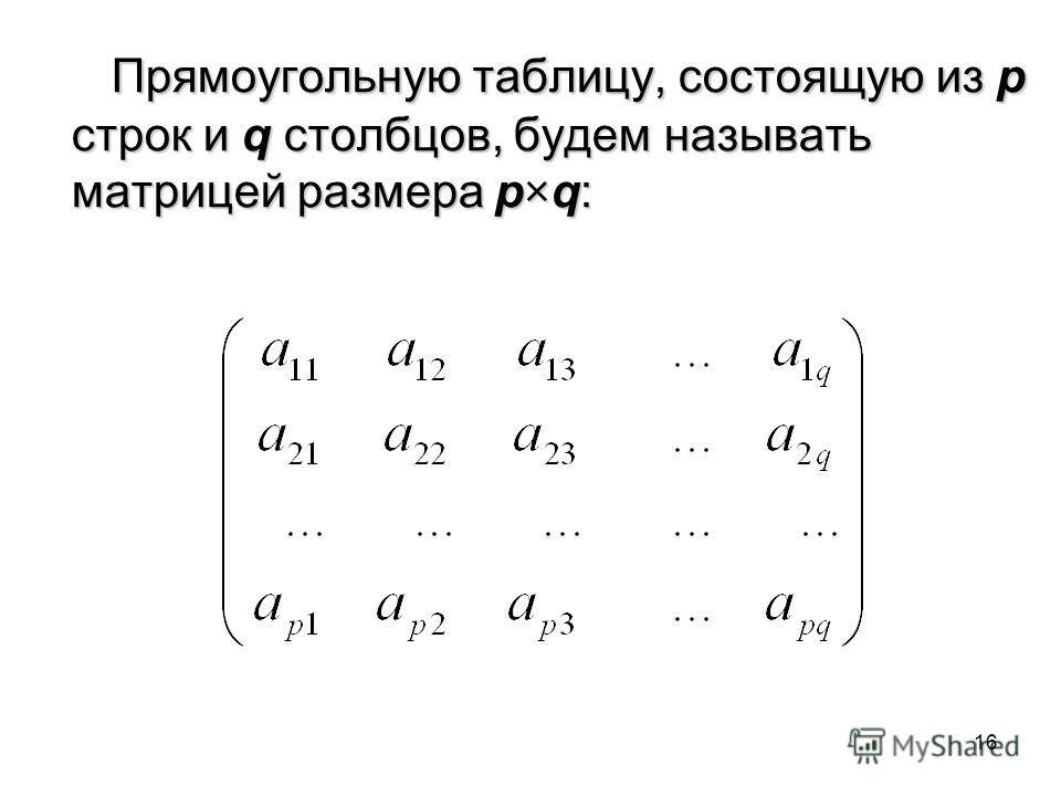 16 Прямоугольную таблицу, состоящую из p строк и q столбцов, будем называть матрицей размера p×q: