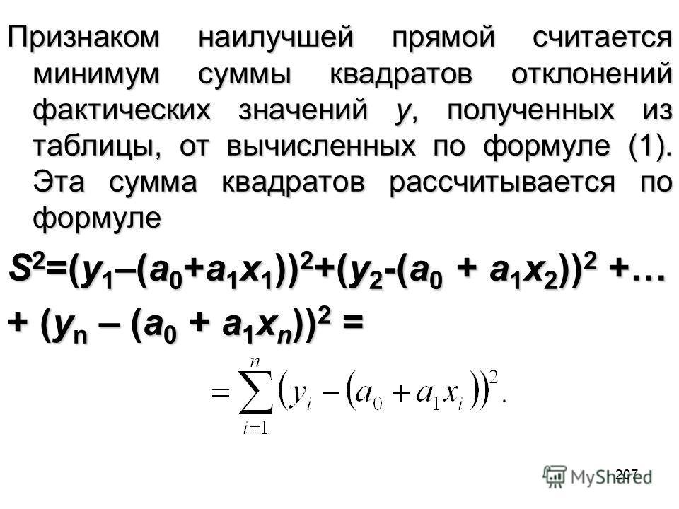 207 Признаком наилучшей прямой считается минимум суммы квадратов отклонений фактических значений y, полученных из таблицы, от вычисленных по формуле (1). Эта сумма квадратов рассчитывается по формуле S 2 =(y 1 –(a 0 +a 1 x 1 )) 2 +(y 2 -(a 0 + a 1 x