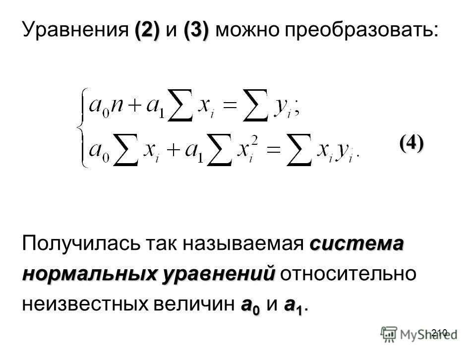 210 (2)(3) Уравнения (2) и (3) можно преобразовать: система Получилась так называемая система нормальных уравнений нормальных уравнений относительно a 0 a 1 неизвестных величин a 0 и a 1. (4). (4)