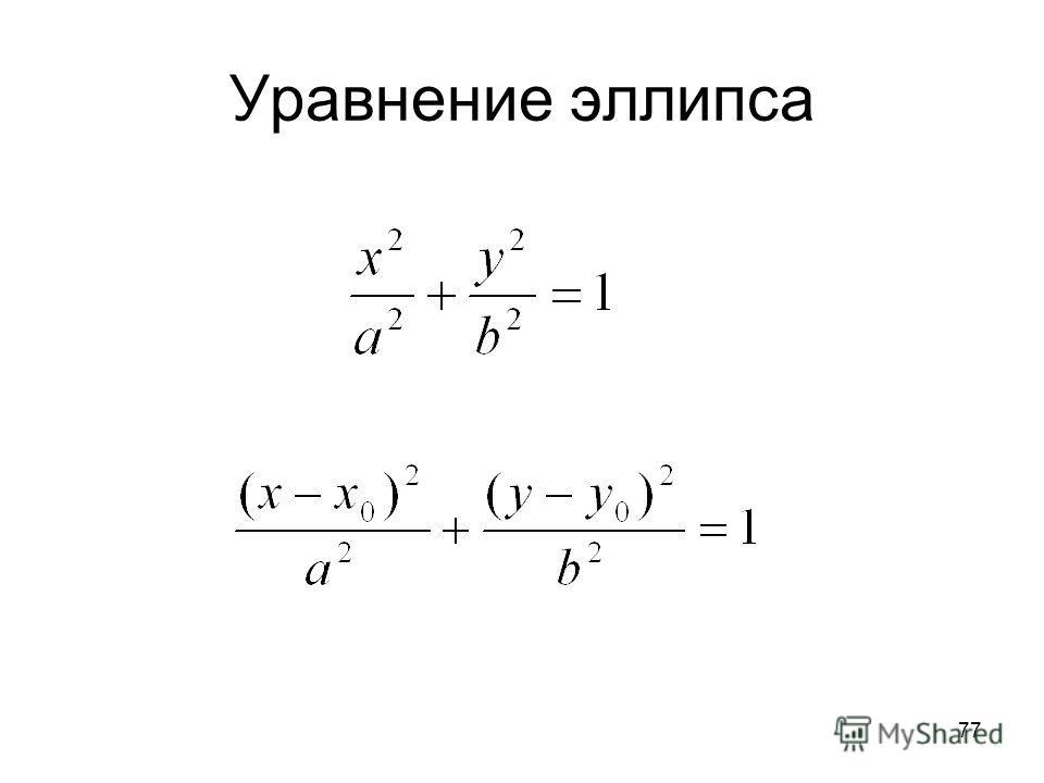 77 Уравнение эллипса