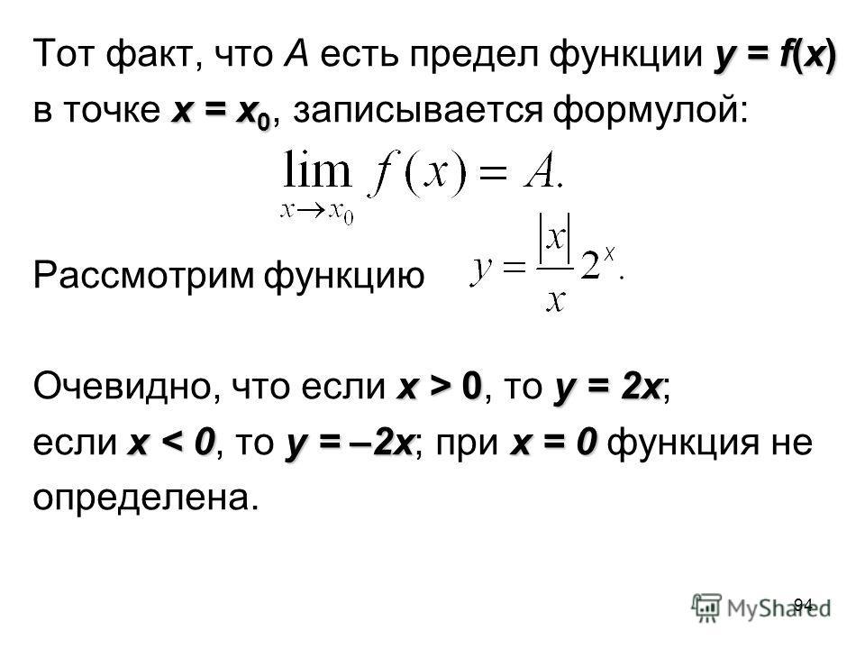 94 y = f(x) Тот факт, что A есть предел функции y = f(x) x = x 0 в точке x = x 0, записывается формулой: Рассмотрим функцию x > 0y = 2x Очевидно, что если x > 0, то y = 2x; x < 0y = –2xx = 0 если x < 0, то y = –2x; при x = 0 функция не определена.