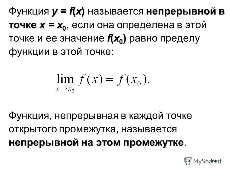 96 y = f(x)непрерывной в Функция y = f(x) называется непрерывной в точкеx = x 0 точке x = x 0, если она определена в этой f(x 0 ) точке и ее значение f(x 0 ) равно пределу функции в этой точке: Функция, непрерывная в каждой точке открытого промежутка