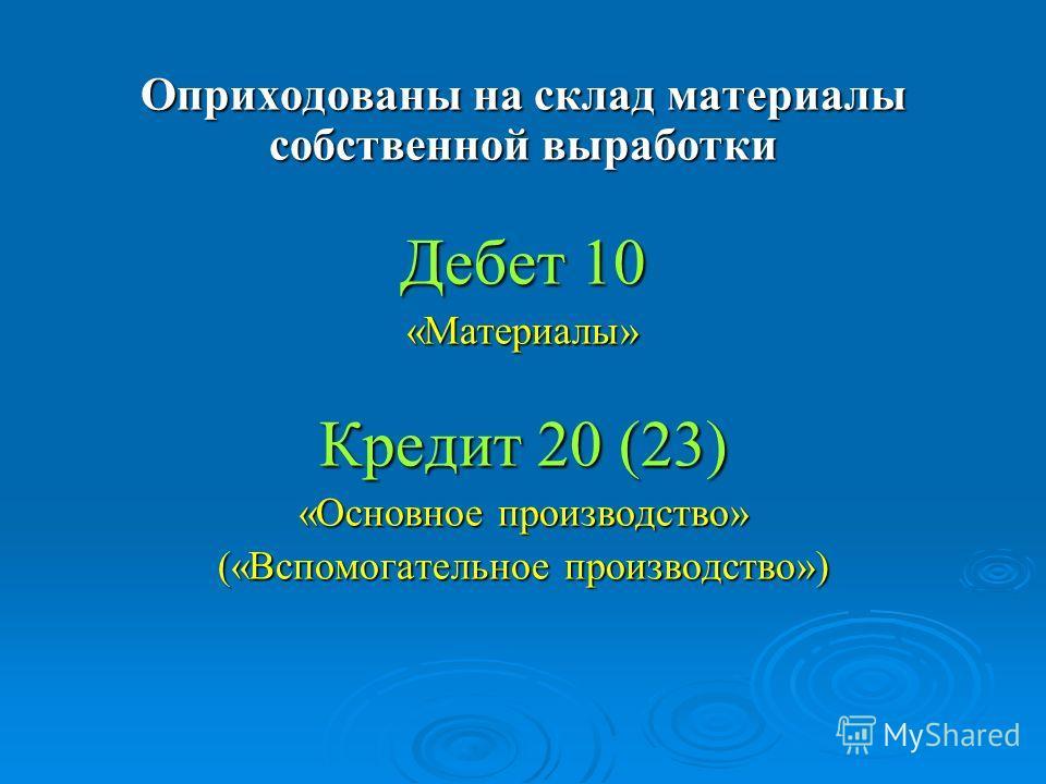 Оприходованы на склад материалы собственной выработки Дебет 10 «Материалы» Кредит 20 (23) «Основное производство» («Вспомогательное производство»)