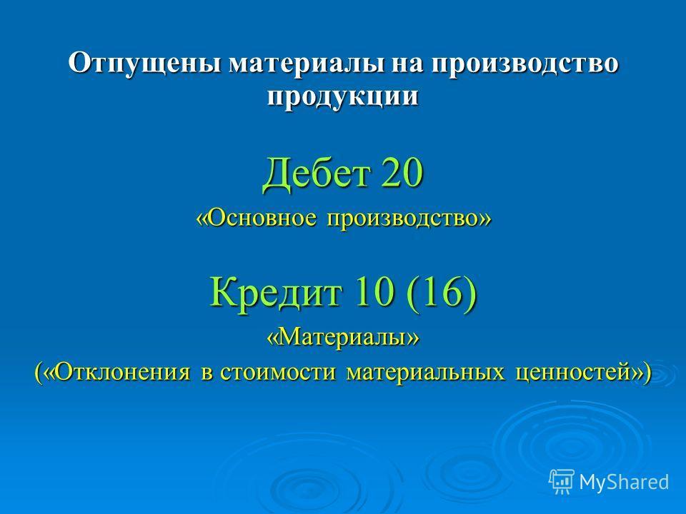 Отпущены материалы на производство продукции Дебет 20 «Основное производство» Кредит 10 (16) «Материалы» («Отклонения в стоимости материальных ценностей»)