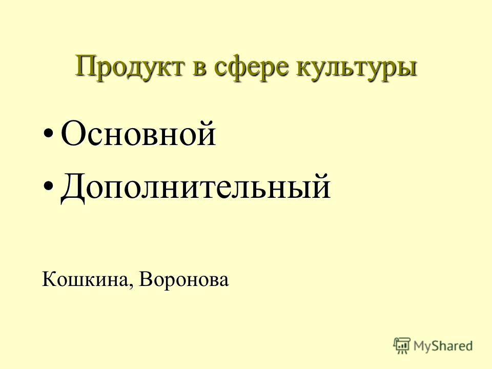 Продукт в сфере культуры ОсновнойОсновной ДополнительныйДополнительный Кошкина, Воронова
