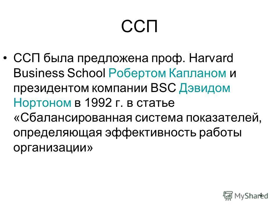4 ССП ССП была предложена проф. Harvard Business School Робертом Капланом и президентом компании BSC Дэвидом Нортоном в 1992 г. в статье «Сбалансированная система показателей, определяющая эффективность работы организации»