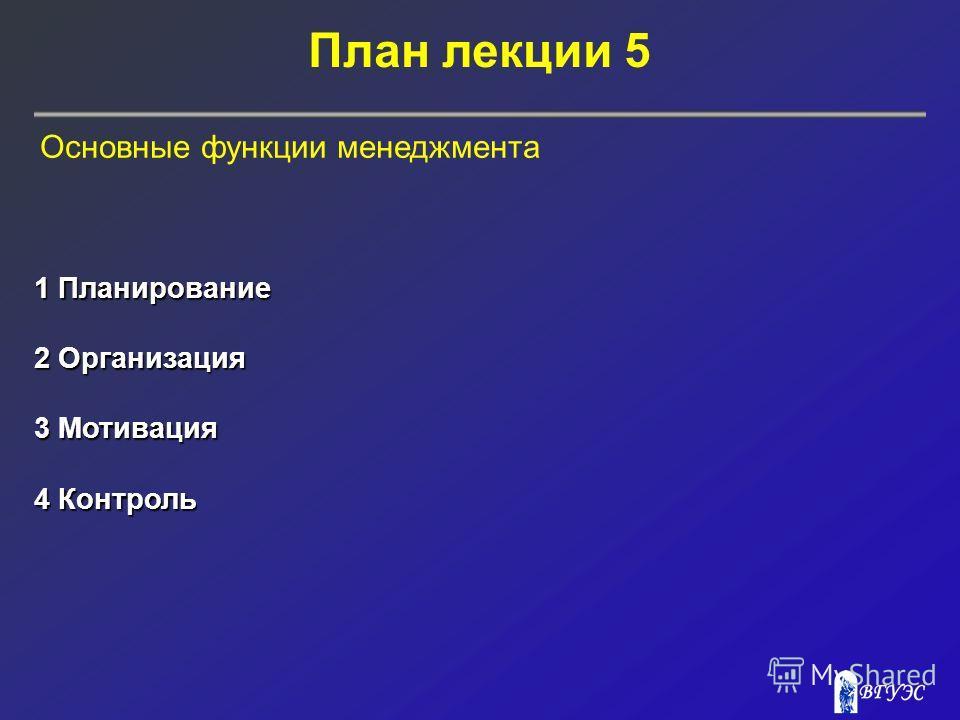 План лекции 5 1 Планирование 2 Организация 3 Мотивация 4 Контроль Основные функции менеджмента