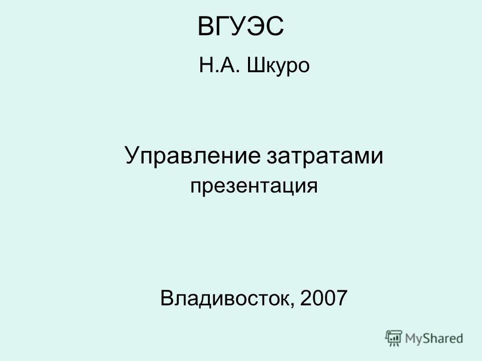 ВГУЭС Н.А. Шкуро Управление затратами презентация Владивосток, 2007