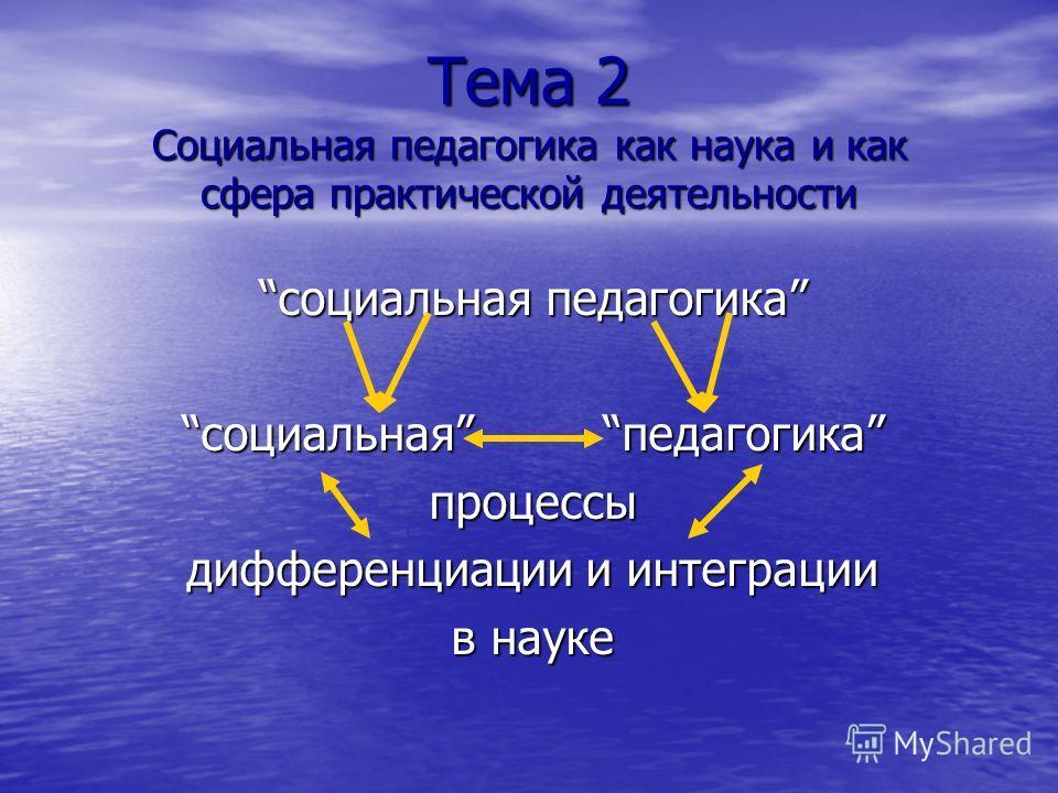 Тема 2 Социальная педагогика как наука и как сфера практической деятельности социальная педагогикасоциальная педагогика процессы дифференциации и интеграции в науке