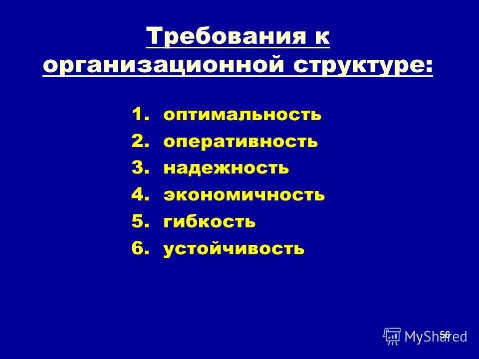 Требования к организационной структуре: 1.оптимальность 2.оперативность 3.надежность 4.экономичность 5.гибкость 6.устойчивость 56