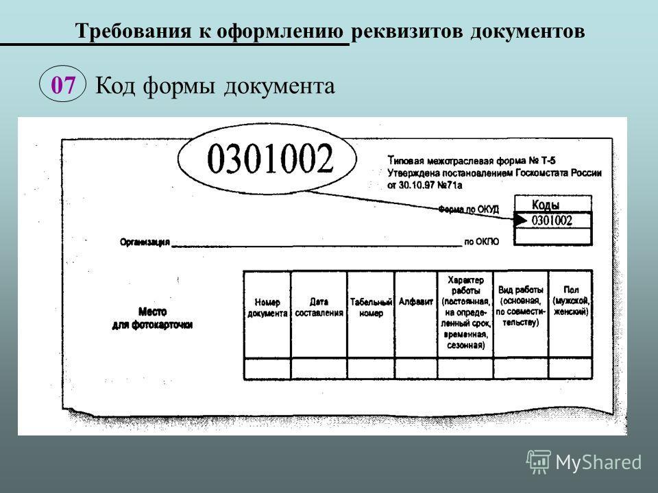 Требования к оформлению реквизитов документов 07 Код формы документа