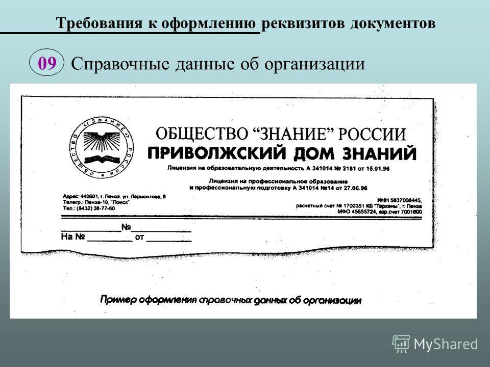 Требования к оформлению реквизитов документов 09 Справочные данные об организации