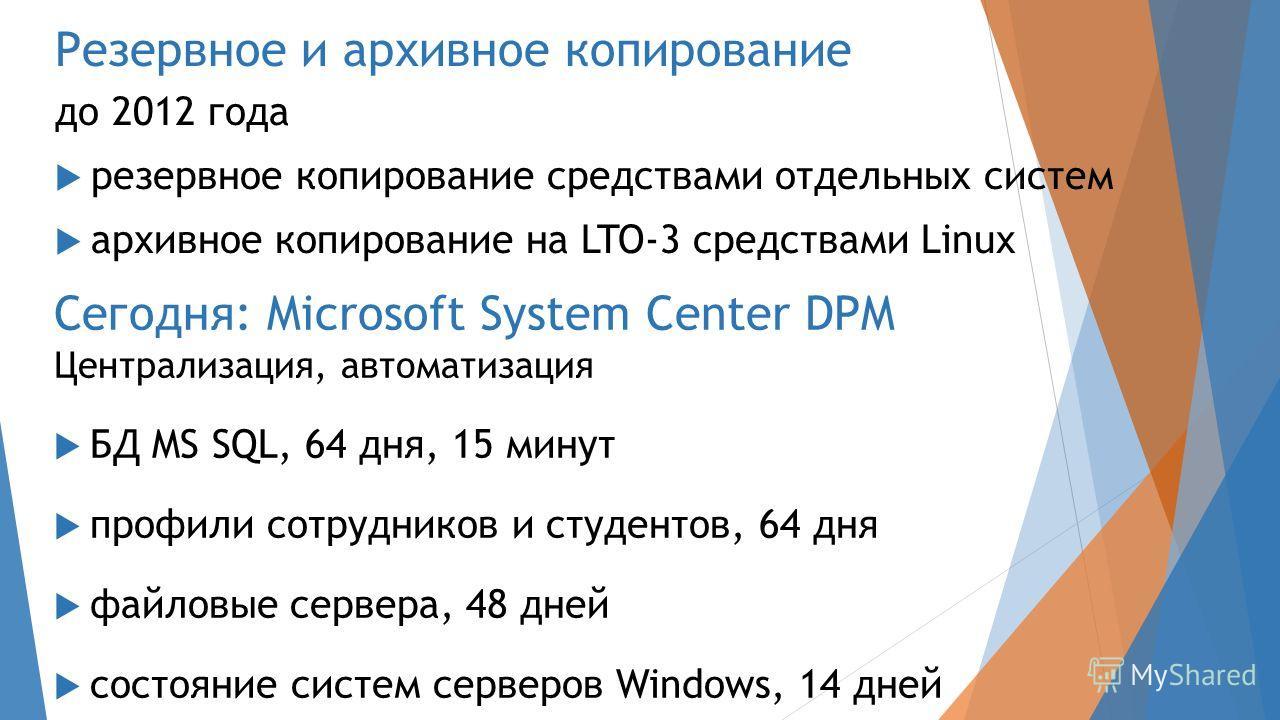 Резервное и архивное копирование до 2012 года резервное копирование средствами отдельных систем архивное копирование на LTO-3 средствами Linux Сегодня: Microsoft System Center DPM Централизация, автоматизация БД MS SQL, 64 дня, 15 минут профили сотру