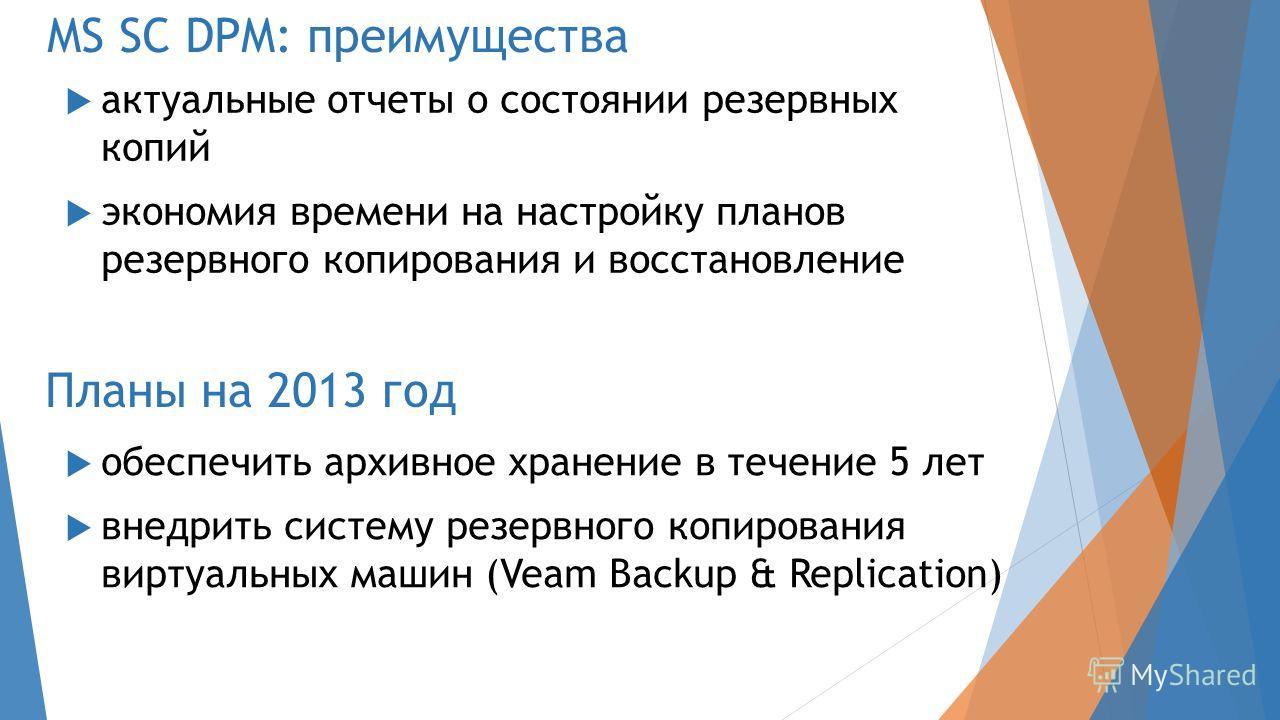 Планы на 2013 год обеспечить архивное хранение в течение 5 лет внедрить систему резервного копирования виртуальных машин (Veam Backup & Replication) MS SC DPM: преимущества актуальные отчеты о состоянии резервных копий экономия времени на настройку п
