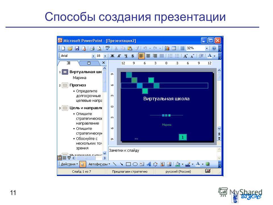 способы создания презентации