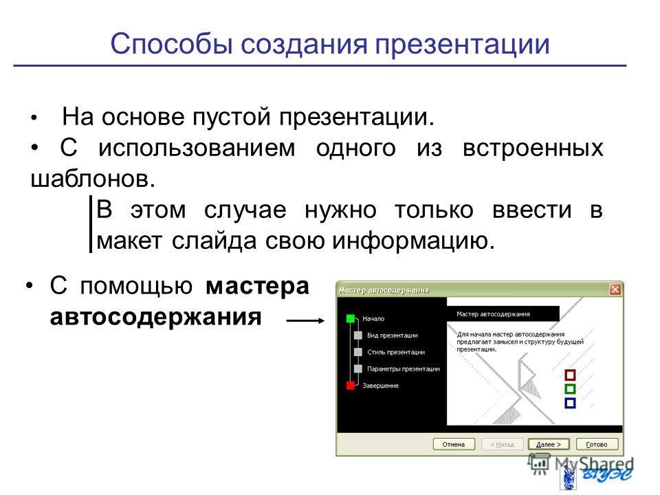 Способы создания презентации С помощью мастера автосодержания На основе пустой презентации. С использованием одного из встроенных шаблонов. В этом случае нужно только ввести в макет слайда свою информацию.