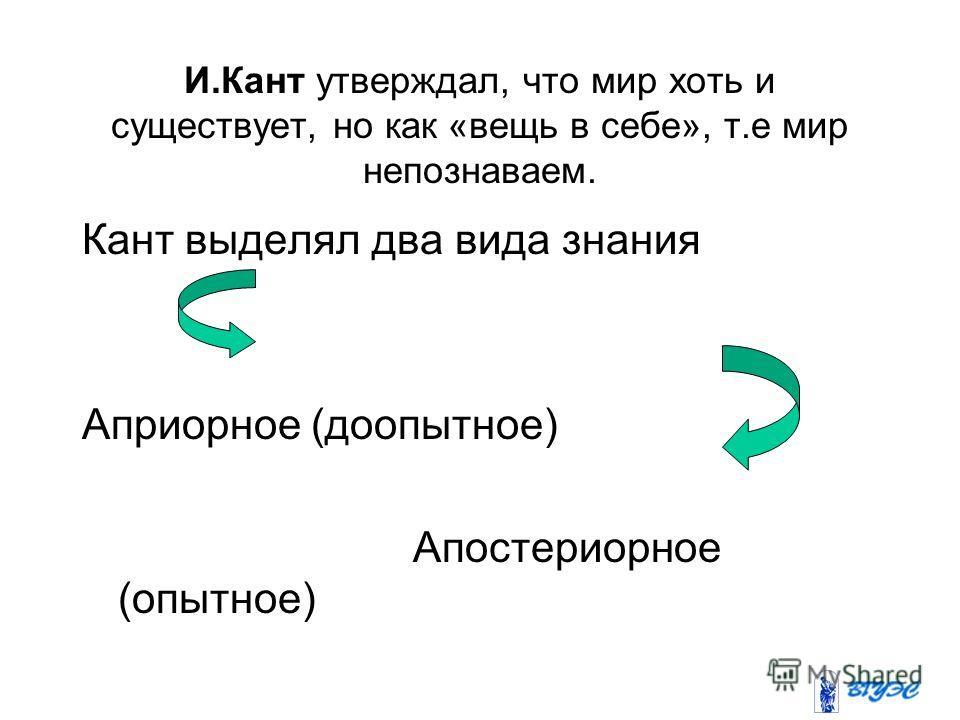 И.Кант утверждал, что мир хоть и существует, но как «вещь в себе», т.е мир непознаваем. Кант выделял два вида знания Априорное (доопытное) Апостериорное (опытное)