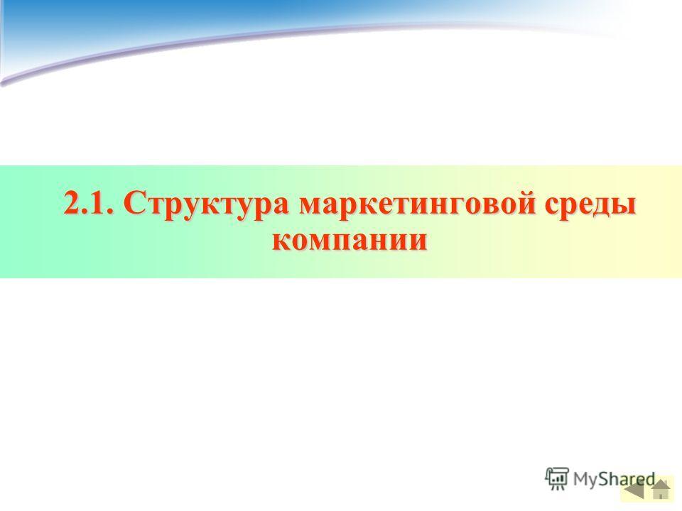 2.1. Структура маркетинговой среды компании