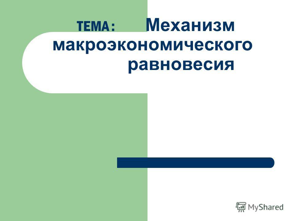 ТЕМА : Механизм макроэкономического равновесия