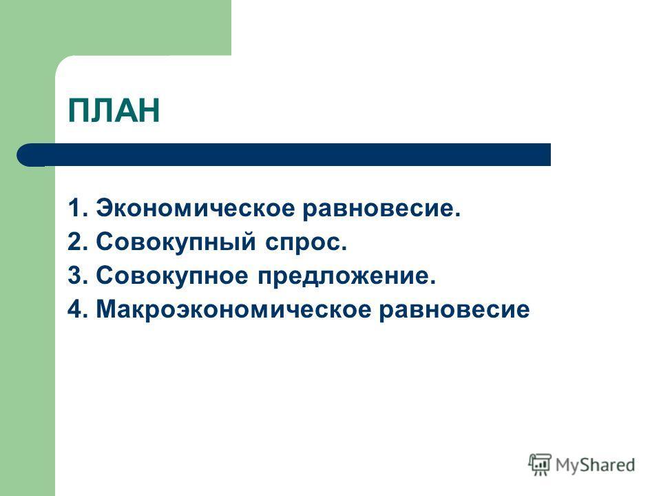ПЛАН 1. Экономическое равновесие. 2. Совокупный спрос. 3. Совокупное предложение. 4. Макроэкономическое равновесие