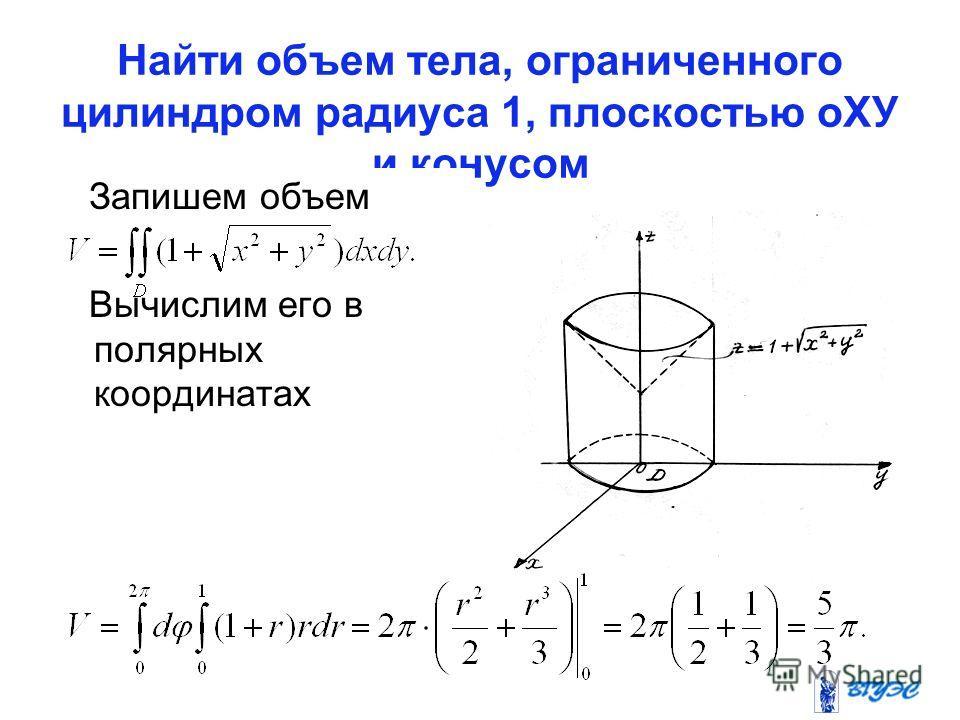 Найти объем тела, ограниченного цилиндром радиуса 1, плоскостью оХУ и конусом Запишем объем Вычислим его в полярных координатах