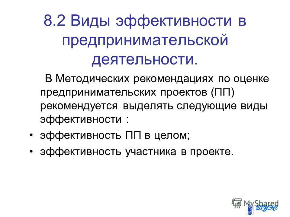 8.2 Виды эффективности в предпринимательской деятельности. В Методических рекомендациях по оценке предпринимательских проектов (ПП) рекомендуется выделять следующие виды эффективности : эффективность ПП в целом; эффективность участника в проекте.
